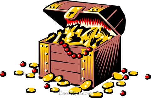 Treasure chest Royalty Free Vector Clip Art illustration cart0451