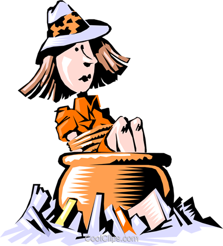 Cartoon woman in big pot Royalty Free Vector Clip Art illustration cart0460
