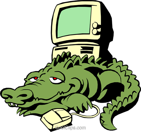 Cartoon alligator with computer Royalty Free Vector Clip Art illustration cart0461