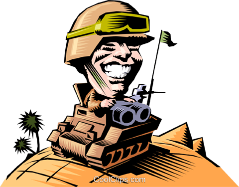 Cartoon tank commander Royalty Free Vector Clip Art illustration cart0463