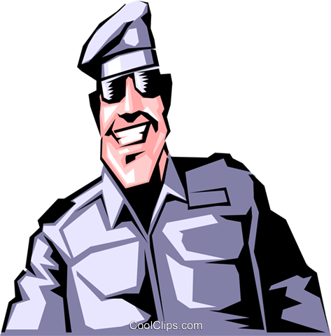 Cartoon military man Royalty Free Vector Clip Art illustration cart0466