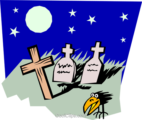 Graveyard Royalty Free Vector Clip Art illustration even0449