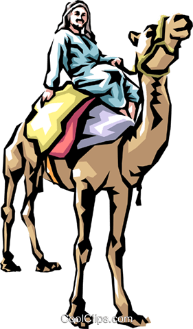 Camel rider Royalty Free Vector Clip Art illustration peop1162