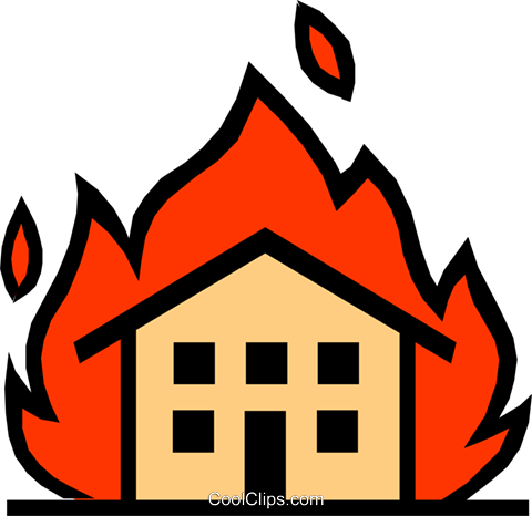 House on fire Royalty Free Vector Clip Art illustration arch0213
