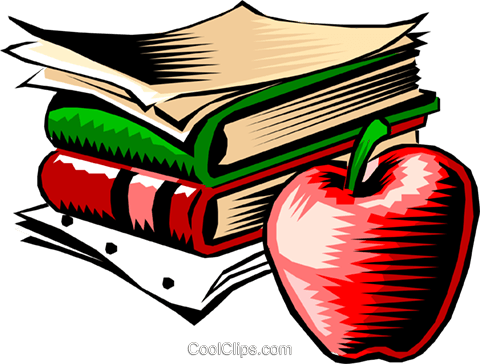 Books with apple Royalty Free Vector Clip Art illustration busi0326