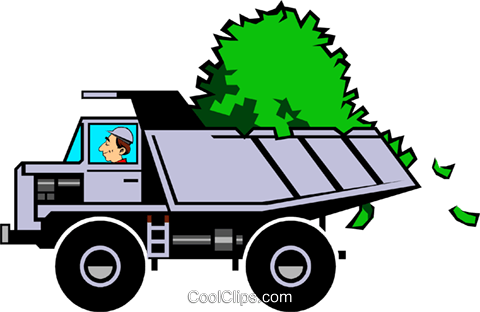 Cartoon dump truck with money Royalty Free Vector Clip Art illustration cart0499