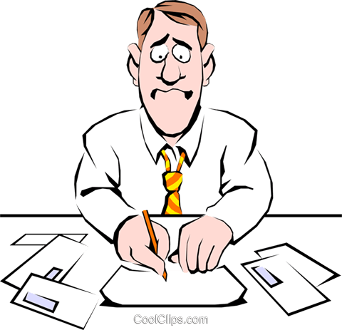 Cartoon man paying his bills Royalty Free Vector Clip Art illustration cart0501