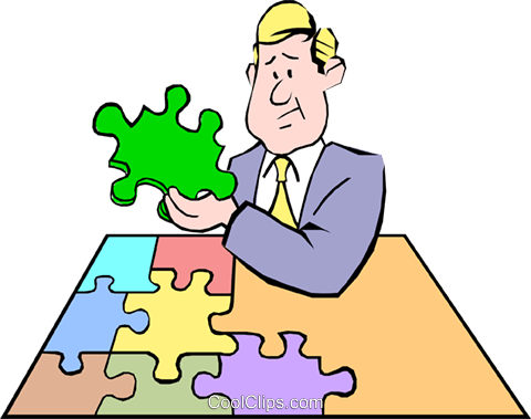 Cartoon puzzle pieces Royalty Free Vector Clip Art illustration cart0503