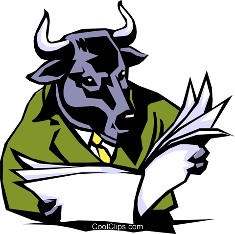 Cartoon bull Royalty Free Vector Clip Art illustration cart0505