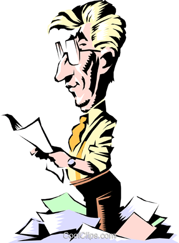 Cartoon man reading papers Royalty Free Vector Clip Art illustration cart0511