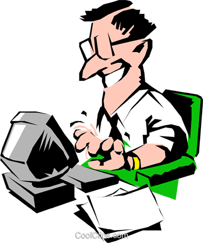 Cartoon man typing at computer Royalty Free Vector Clip Art illustration cart0512
