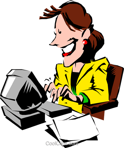 Cartoon woman typing at computer Royalty Free Vector Clip Art illustration cart0513