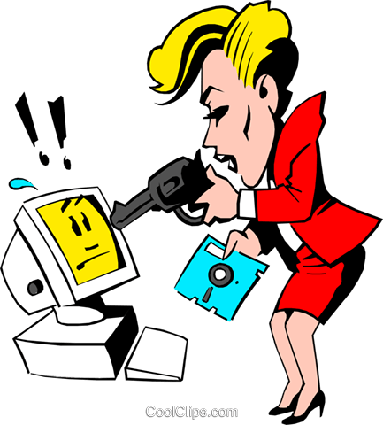 Cartoon woman pointing a gun at computer Royalty Free Vector Clip Art illustration cart0519