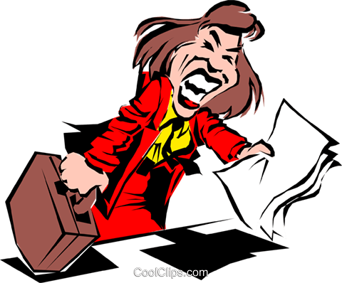 Cartoon woman with report Royalty Free Vector Clip Art illustration cart0521