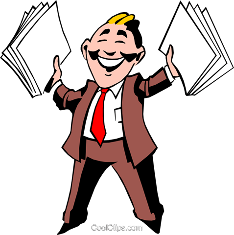 Cartoon man with papers Royalty Free Vector Clip Art illustration cart0525