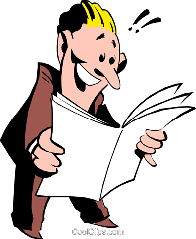 Cartoon man with papers Royalty Free Vector Clip Art illustration cart0527