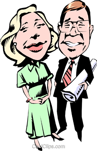 Cartoon man & woman Royalty Free Vector Clip Art illustration cart0529