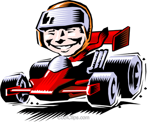 Cartoon racecar driver Royalty Free Vector Clip Art illustration cart0531