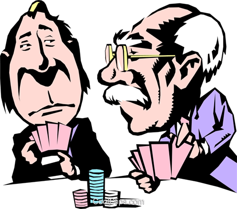 Cartoon poker players Royalty Free Vector Clip Art illustration cart0539