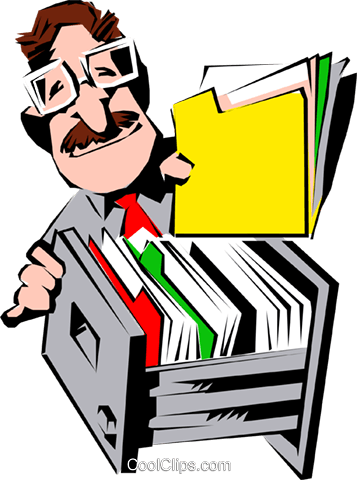 Cartoon man with folder Royalty Free Vector Clip Art illustration cart0548