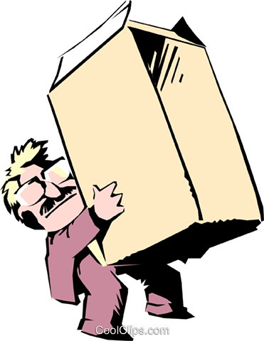 Cartoon man with carton Royalty Free Vector Clip Art illustration cart0552