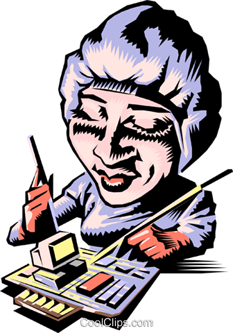 Cartoon assembly line worker Royalty Free Vector Clip Art illustration cart0560