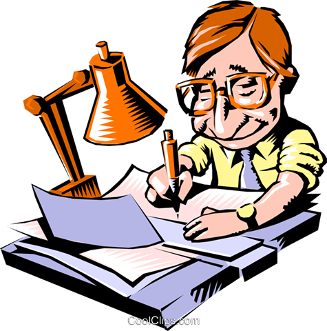 Cartoon man with paperwork Royalty Free Vector Clip Art illustration cart0562
