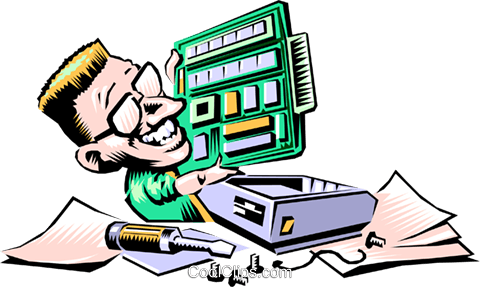 Cartoon technician Royalty Free Vector Clip Art illustration cart0564