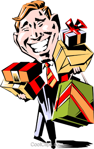 Cartoon man with gifts Royalty Free Vector Clip Art illustration cart0565