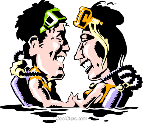 Man & woman scuba divers Royalty Free Vector Clip Art illustration cart0588