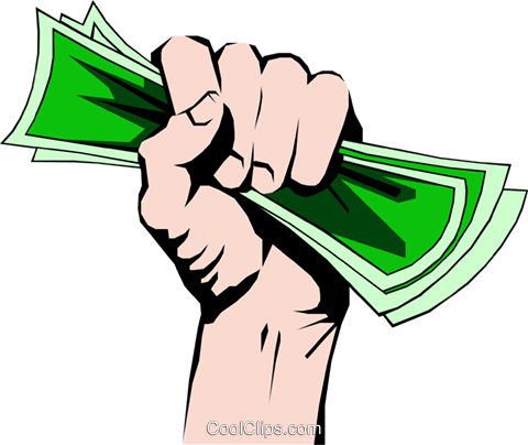 Fist full of money Royalty Free Vector Clip Art illustration hand0061