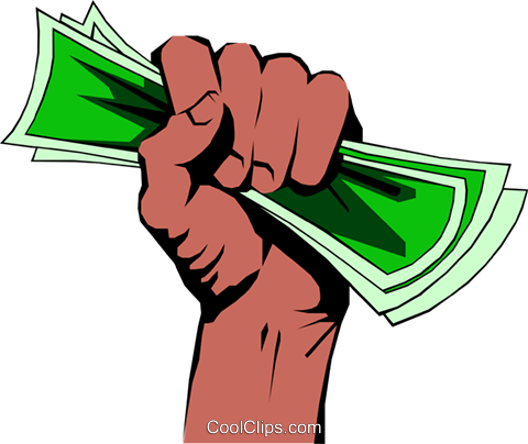 Fist full of dollars Royalty Free Vector Clip Art illustration hand0062
