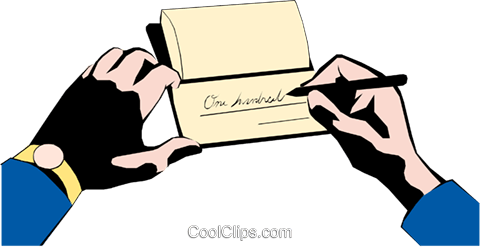 Hands writing a check Royalty Free Vector Clip Art illustration hand0063