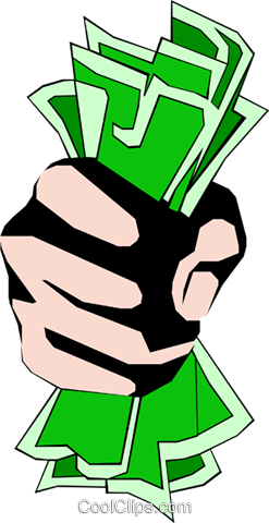 Fist full of dollars Royalty Free Vector Clip Art illustration hand0064