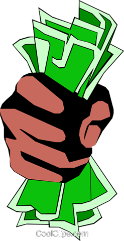 Fist full of dollars Royalty Free Vector Clip Art illustration hand0065