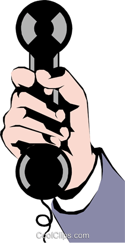 hand with telephone Royalty Free Vector Clip Art illustration hand0071