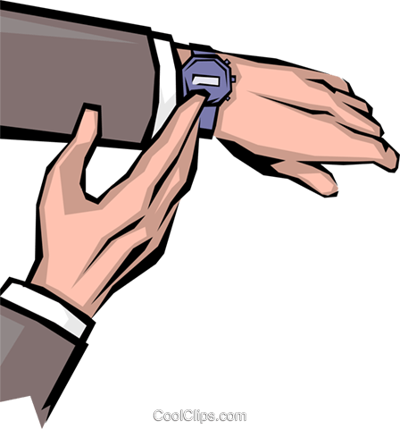 Hands checking the time Royalty Free Vector Clip Art illustration hand0076