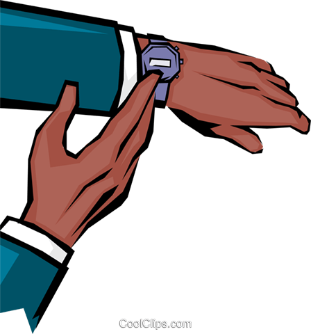 Hands checking time Royalty Free Vector Clip Art illustration hand0077