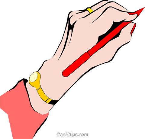Female hand writing Royalty Free Vector Clip Art illustration hand0078