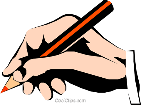 Hands writing Royalty Free Vector Clip Art illustration hand0079