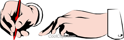 Hands writing Royalty Free Vector Clip Art illustration hand0080