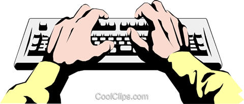 Hands typing Royalty Free Vector Clip Art illustration hand0082