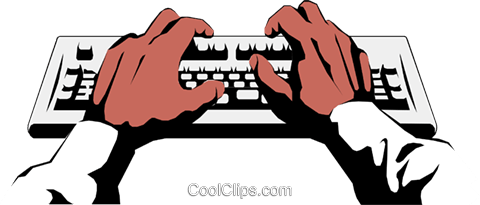 Hands with keyboard Royalty Free Vector Clip Art illustration hand0083
