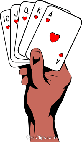 Hands holding playing cards Royalty Free Vector Clip Art illustration hand0094