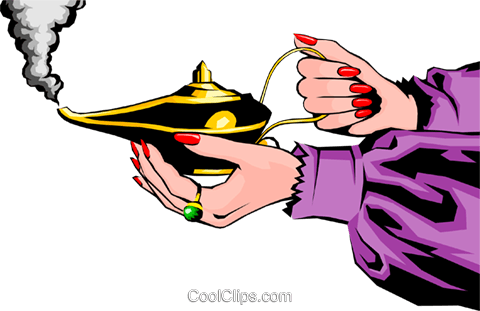 Magic lamp Royalty Free Vector Clip Art illustration hand0097