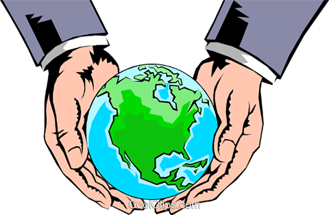 Hands holding globe Royalty Free Vector Clip Art illustration hand0098