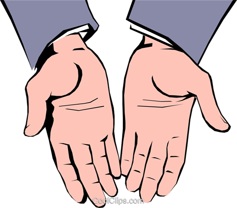 Open hands Royalty Free Vector Clip Art illustration hand0100