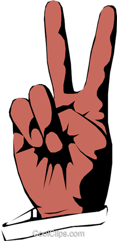 Peace sign Royalty Free Vector Clip Art illustration hand0141