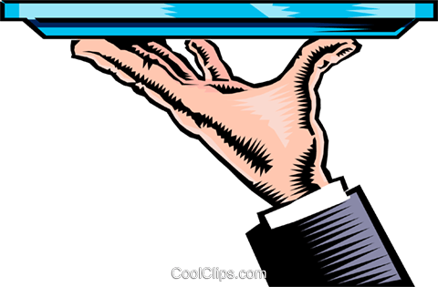 Hand with serving tray Royalty Free Vector Clip Art illustration hand0143