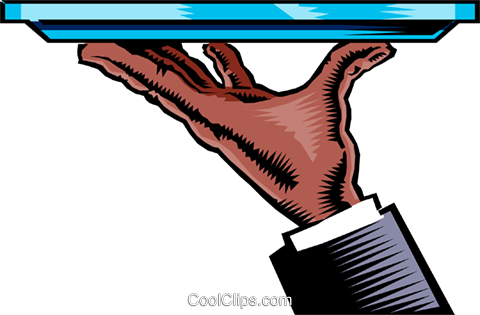 Hand with serving tray Royalty Free Vector Clip Art illustration hand0144